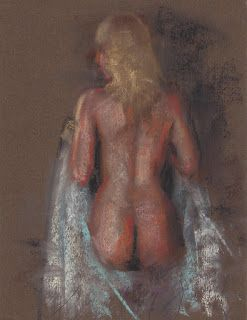 Female nude back pastel drawing painting a day