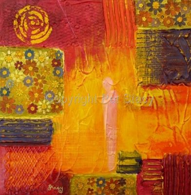 "Original Contemporary Abstract Mixed Media Flower Art Painting ""Flower Power"" by Contemporary Arizona Artist Pat Stacy"