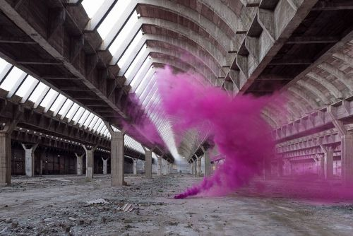 Remote Landscapes and Abandoned Structures Momentarily Transformed by Colorful Plumes of Smoke