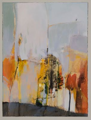 "Contemporary Botanical Abstract Landscape Painting ""Out on a Limb"" by Intuitive Artist Joan Fullerton"