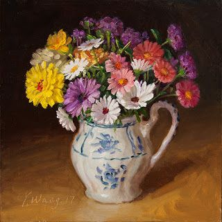 Flower painting still life original oil painting a day