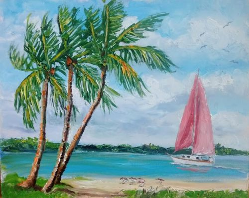 1783 Red Sailboat in the Inlet