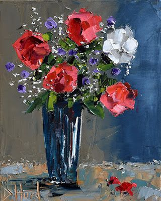 "Still Life Oil Painting,Floral Painting,Palette Knife""Special Day"" by Debra Hurd"