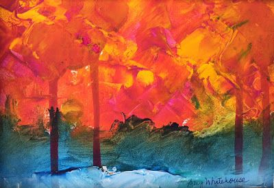 "Contemporary Abstract Landscape, ""Fall Trees,"" by Amy Whitehouse"