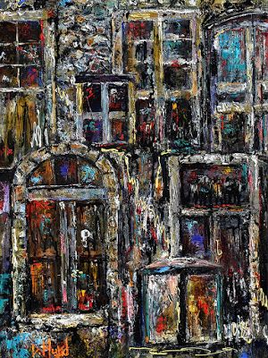 "Urban Architectural Abstract Painting Art on Canvas ""Windows and Doors"" By Debra Hurd"