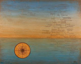 "Contemporary Map Art, Florida Map ""NEW WORLD MARINER'S STAR"" by Contemporary Artist Brian Billow"