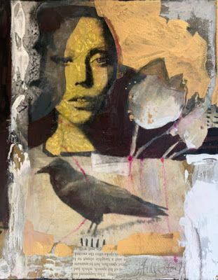 "Contemporary Mixed Media Portrait Painting ""Growing Mystery"" by Intuitive Artist Joan Fullerton"