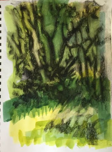 """Day 236 """"Tree Patterns"""" mixed 12 x 9 - trying something new"""