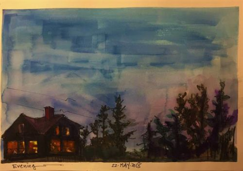 """Day 231 """"Evening"""" 9 x 12 watercolor & ink"""