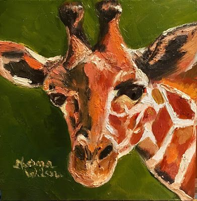 Norma Wilson Original Oil Giraffe Animal Mammal Wildlife Portrait Painting Art