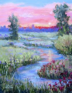 Dreamy Sunrise, New Contemporary Landscape Painting by Sheri Jones