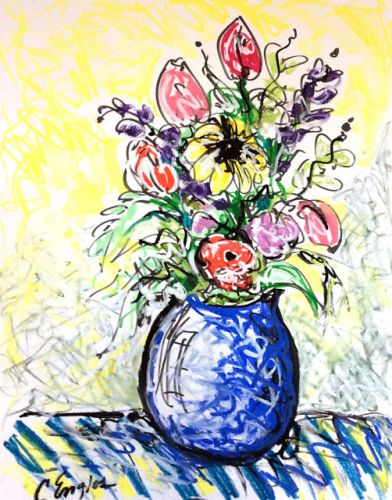 Squiggly Flowers in Blue Vase, by Carol Engles