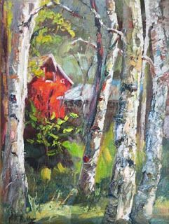 New 'A Spot in the Woods' Palette Knife Aspen Tree Painting by Niki Gulley