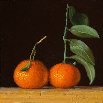 Tangerines fruit daily painting a day small original oil painting y wang fine art