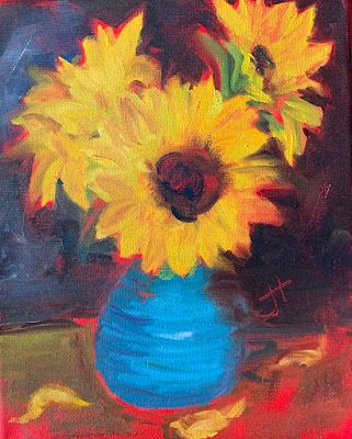 "Sunflower Painting, Expressive Still Life Floral Painting, ""RADIANCE AT DUST"" by Texas Contemporary Artist Jill Haglund"