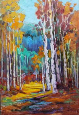 Aspen Trees, Impressionist Landscape, Mountain Landscape, Trees, Fine Art Oil Painting