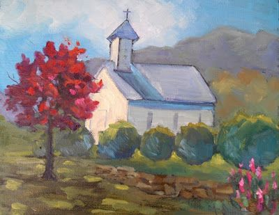 Blue Ridge Church Painting, Small Oil Painting, Daily Painting, 8x10