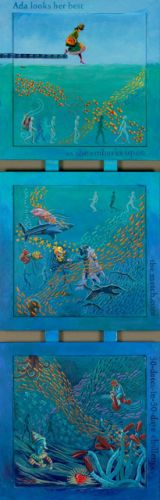 "Whimsical Art, Ocean Animal, Contemporary Figure Painting,""Ada Looks Her Best"" by Colorado Artist Nancee Jean Busse"