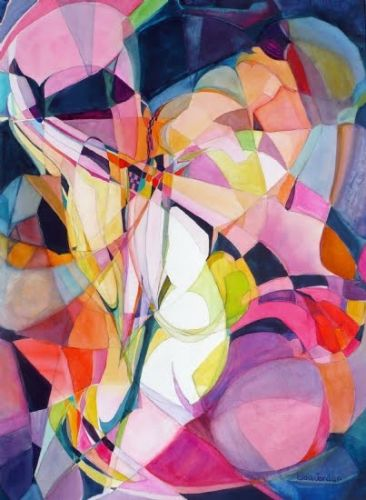 """Colorful Abstract, Expressionism Painting """"The Way"""" by Contemporary Artist Lou Jordan"""