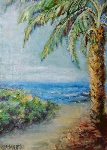 """Impressionism Seascape,Coastal Art Painting """"Unexpected Pathway"""" by Florida Impressionism Artist Annie St Martin"""