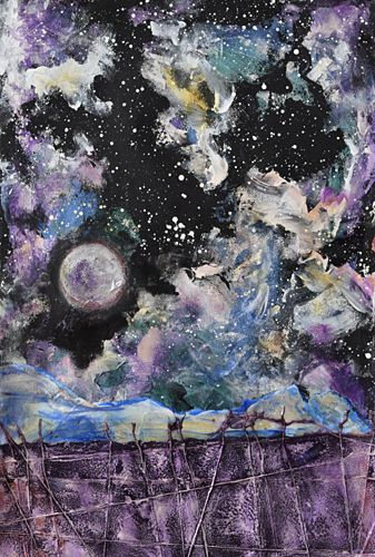 """Contemporary Abstract Landscape Painting on Paper """"Winter Moon"""" by Santa Fe Contemporary Artist Sandra Duran Wilson"""