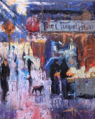 """Pike Place Downpour"" Seattle city oil painting by Robin Weiss"