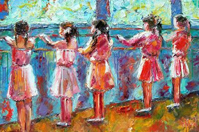 "Dancers, Ballet Dancers, Little Girls Dance,Pink Dresses, Figurative Fine Art Oil Paintings ""Dance Class"" By Texas Artist Debra Hurd"