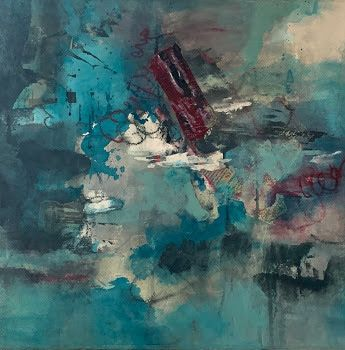 "Mixed Media Abstract Painting, Contemporary Art, Expressionism, ""Conquer The Noise"" by Contemporary Artist Tracy Lupanow"