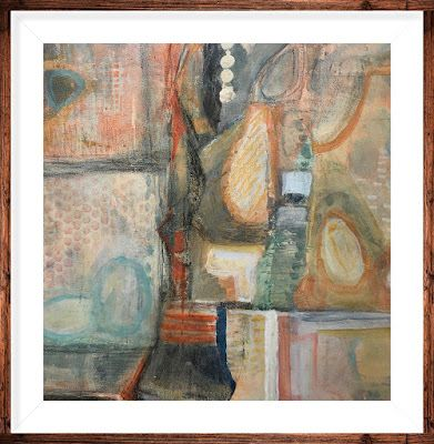 """Abstract Painting, Framed Abstract Art Expressionist Art, Contemporary Painting """"BUTTON UP"""" by Virginia Contemporary Artist Lou Jordan"""
