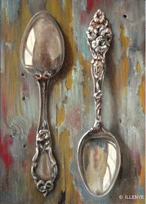 Sterling Silver Spoons on Rustic Wood with Aqua Peeling Paint still life oil painting 7x5 in