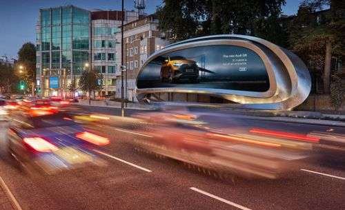 Zaha Hadid Architects Reveal Twisting Steel Billboard in West London