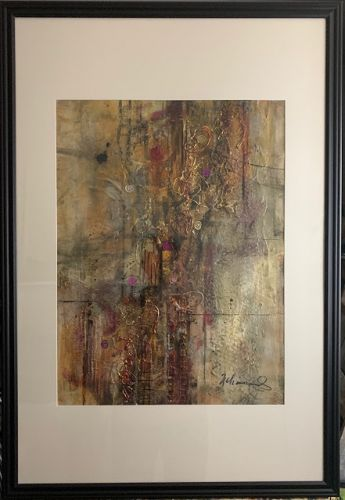 "Abstract Art, Mixed Media, Contemporary Painting, ""A Whole Lotta Bling"" by Texas Contemporary Artist Sharon Whisnand"