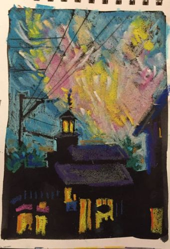 "Day 261 ""Dusk Over Commercial"" 9 x 6 ink with pastel"