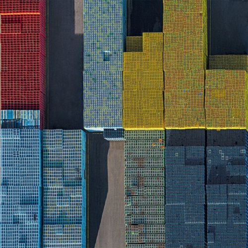 Aerial Photos Show Beverage Industry Crates Forming Eye-Popping Grids