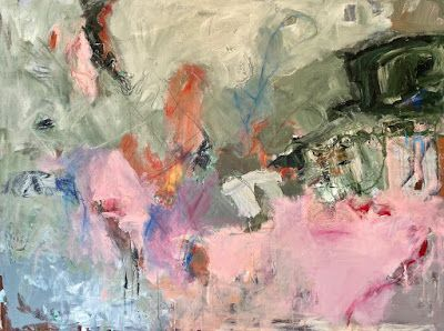 "Abstract Art, Expressionism, Contemporary Painting ""HEADED TO THE FINISH LINE"" by Oklahoma Artist Nancy Junkin"