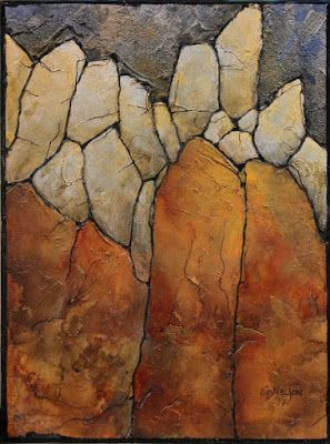 "Mixed media geologic abstract, ""Marble Palisade II"" by Carol Nelson Fine Art"