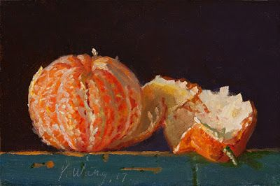 Peeled mandarin orange painting original a painting a day