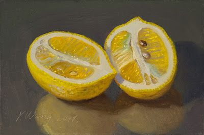 Lemon slices still life fruit daily painting a day