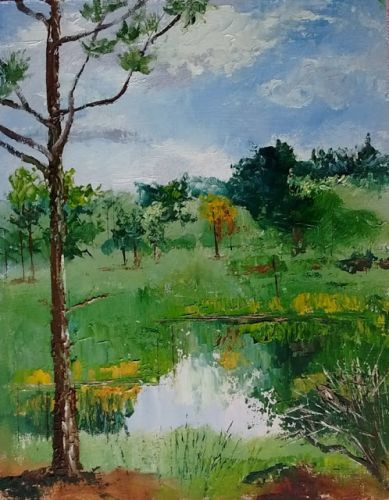 1805 Secret Pond in the Woods plein air alla prima