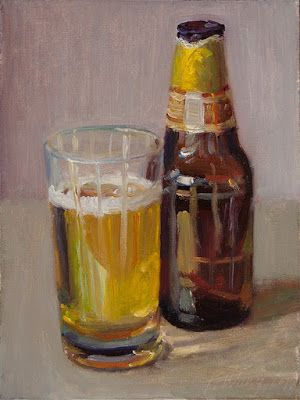 A cup of beer still life oil painting original a painting a day