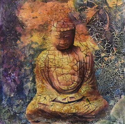 "Mixed Media Contemporary Painting,Collage, Buddha ""Timeless"" by Santa Fe Contemporary Artist Sandra Duran Wilson"