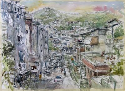 Watercolor sketches at Buam-dong village, Seoul