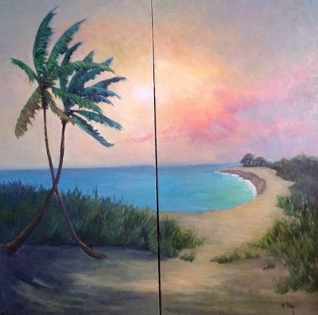 Palm Tree and Beach Landscape Painting, Tropical Diptych on Canvas