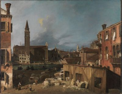 The Stonemason's Yard by Canaletto, circa 1725