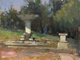 Esedra Giulio, Borghese Gardens, Rome - 9in x 12in - Oil on Linen - 2015