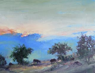 Morning Graze, Contemporary Landscape Painting by Sheri Jones