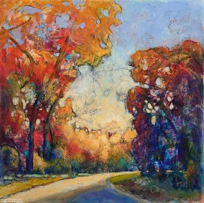 "Colorful Contemporary Landscape Painting, Abstract Landscape, Autumn Trees ""Freedom"" by Passionate Purposeful Painter Holly Hunter Berry"