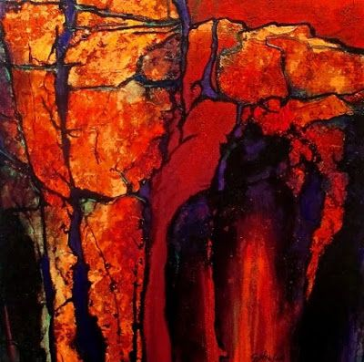 "Geologic Abstract Art Painting ""Red Passage"" by Colorado Mixed Media Abstract Artist Carol Nelson"