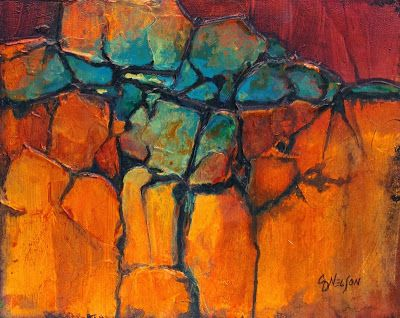 "Acrylic Geologic Abstract Painting ""Turquoise Ridge"" by Carol Nelson Fine Art"