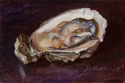 Oyster painting a day seafood daily painting small oil painting original contemporary realism